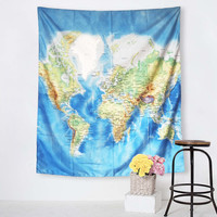 World Map Tapestry Blue Printed Wall Hanging Tapestry 130x150cm 150x200cm Sheet Wall Carpet Home Decor