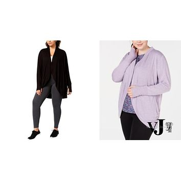 Ideology Womens Plus Open Front Long Sleeve Cardigan,Various Sizes