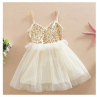 Gold Sparkle Ivory Tulle Ruffle Spaghetti Strap Dress