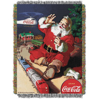 Coca-Cola (Santa Helicopter) Woven Tapestry Throw (48inx60in)
