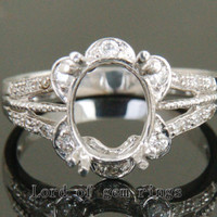 7.5x9.5mm Oval Cut Real 14K White Gold H/SI Diamonds Engagement Semi Mount Ring