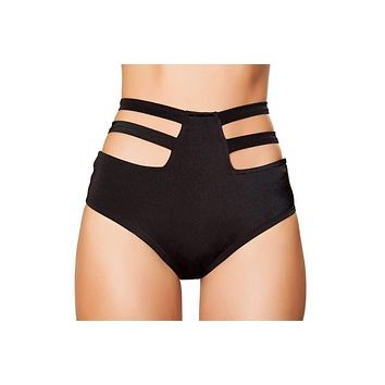 Roma Rave SH3321 - Solid High-Waisted Strapped Shorts