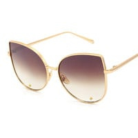 New Cat Eye Metal Frame Sunglasses