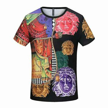 VERSACE early spring new trend men's color round neck short-sleeved T-shirt