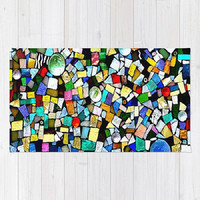 Stained Glass, Mosaic, Mixed Media - Decorative Throw Rug, 3 Sizes Available - Kitchen, Nursery, Home or Office, Gift-Made To Order-TMW1#73