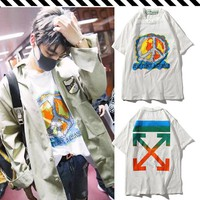 OFF OW WHTE Wang Junkai summer with the same clothes youth casual loose short-sleeved men and women couple models T-shirt