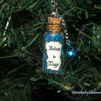 Jewelry BELIEVE In MAGIC Necklace with a Bell Charm by Life is Bubbles Christmas Anytime