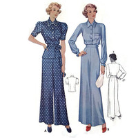 """Vintage McCall's Sewing Pattern, 1930's, Ladies Blouse and Trousers, Pajamas, Size 16, 34"""" Bust, 28"""" Waist, #9408, Pieces Cut, Movie Costume"""