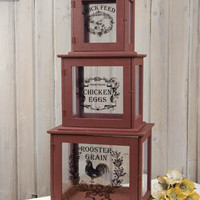 ROOSTER STORE DISPLAY BOXES SET OF 3