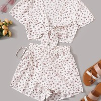 Ditsy Floral Tie Front Blouse With Knot Wrap Skort