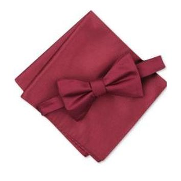 Alfani Mens Solid Textured Pre-Tied Bow Tie & Solid Textured Pocket Square Set