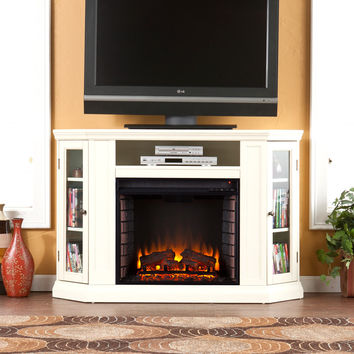 Claremont Convertible Media Electric Fireplace, Ivory