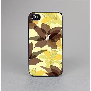 The Yellow and Brown Pastel Flowers Skin-Sert for the Apple iPhone 4-4s Skin-Sert Case