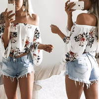 Ladies White Floral Print Chiffon Off the Shoulder Blouse with Bell Sleeves Includes Removable Choker Necklace Tie
