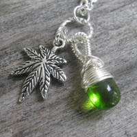 Pot Leaf Necklace, Marijuana Jewelry, Wire Wrapped Go Green Minimalist Teardrop, 24 inches, Choose Your Length, Silver