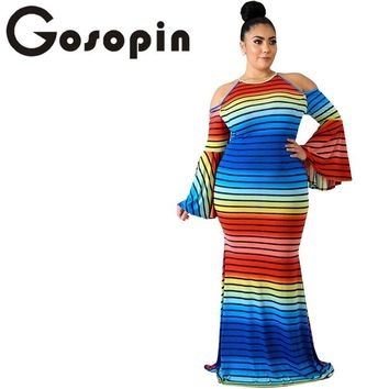 Gosopin Striped Cold Shoulder Plus Size Dress Women Maxi Autumn Summer Dresses Size XXL Rainbow Women Long Dresses 2018 LC610421