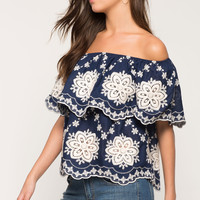 Embroidered Flounce Off Shoulder Top