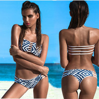 2015 Women Sexy Swimsuit Bandeau Push Up Bikini Set Reversible Print Swimwear Brazilian Strapless Padded Bra Beach Bathing Suits
