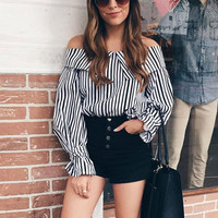 Stylish Stripe Lantern Sleeve Shirt BoLing Tops