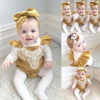 Baby Girl One-piece Romper With Headband