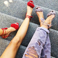 Summer Stylish Design Tassels Sandals = 4814814596