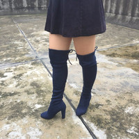 Boots Stretch Faux Suede Slim Thigh High Boots- Over the Knee Boots Navy Blue