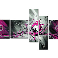 Rose Bliss Abstract Canvas Wall Art Oil Painting