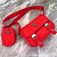 Prada Bag Women Men Unisex Messenger bag Red