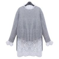 Women Sexy Knitting Sweater Lace Blouse  Patchwork 2 Pieces Set Long Top Short Dress = 1667442692