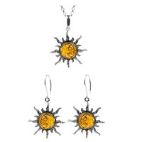 """Amber Sterling Silver Large Sun Set Earrings Pendant Necklace Chain 18"""""""