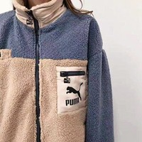PUMA New fashion letter print  contrast color couple long sleeve coat jacket