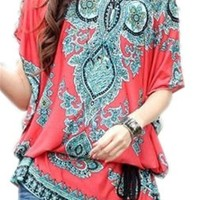 JSDY Womens Gothic Floral Printed Plus Size Bat Sleeve Blouse Tee Shirts Top Red:Amazon:Clothing