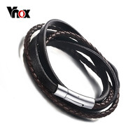 Vnox Braided Leather Rope Woven Wrap Surfer Cuff Bracelet Punk Genuine Leather Bracelet & Bangle with Magnet Clasp