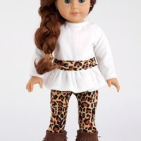 Fashion Safari - 3 piece outfit - Ivory velvet tunic, cheetah leggings and fringed boots - 18 Inch American Girl Doll Clothes (doll not included)