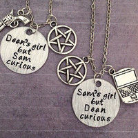 Dean's Girl But Sam Curious/Sam's Girl But Dean Curious Best Friends Necklaces, Supernatural Jewelry, Fandom Jewelry, Team Free Will