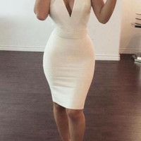 White Deep V Neck Strapless Homecoming Dress, Short Homecoming Dresses