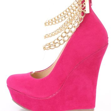 Fuchsia Ankle Chains Platform Wedges Faux Suede