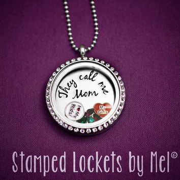 They Call Me Mom - Hand Stamped Floating Glass Memory Locket - Mother's Birthstone Jewelry - Mommy Necklace - Personalized Birth Stones