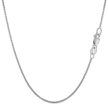 14k White Solid Gold Mirror Box Chain Necklace, 0.8mm