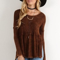 Waffle Knit Scoop Neck