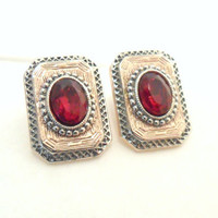 Art Deco Style Earrings with Red Glass, Rose Gold Plate