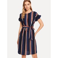 Color strip tie with round neck dress