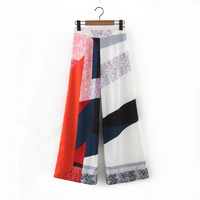 Summer Women's Fashion Geometric Print Pants Sponge [4920274884]