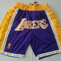 Just Don Los Angeles Lakers Vintage Embroidered Pocket Zipper Basketball Swingman Shorts - Best Deal Online