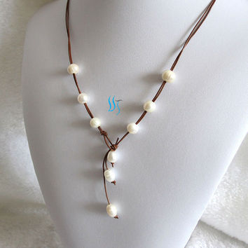 Pearl Necklace -20 Inches 9-10mm White Freshwater Pearl Light Coffee 2Row Leather Rope Necklace - Free shipping