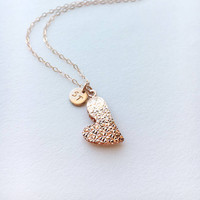 Personalized Heart Necklace • Initial Heart Necklace • Engraved Heart Necklace • Rose Gold Heart Necklace • Custom Heart Necklace • | 0280NM