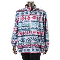 Alfred Dunner Womens Plus Fleece Printed Full Zip Sweater