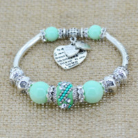 Love Heart Charm Bangle Bracelet