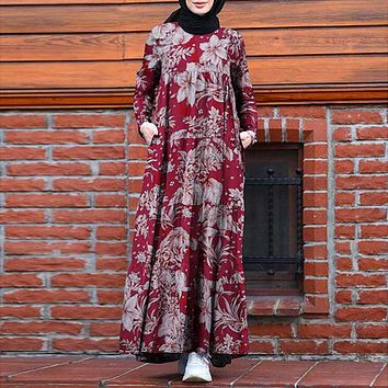 Women Vintage Floral Printed Hijab Dress Long Sleeve Maxi Sundress Retro Vestido