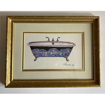 Victorian Claw Foot Bath Tub w/ Blue Black Pink Roses matted & Framed